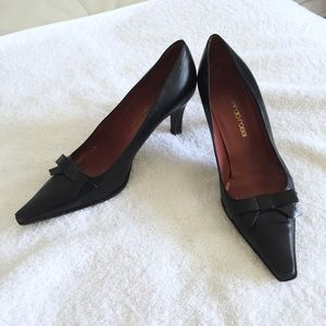 Sergio Rossi black kitten heel pointy toe pumps 6